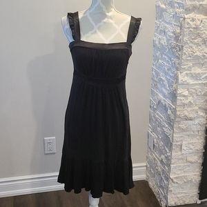 Kenzie black satin feel ruffle trim dress